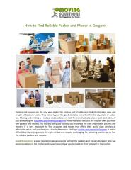 How to Find Reliable Packer and Mover in Gurgaon.pdf