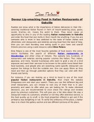 Devour Lip-smacking Food in Italian Restaurants of Oakville.docx