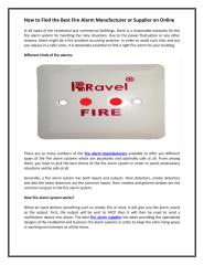 How to Find the Best Fire Alarm Manufacturer or Supplier on Online.pdf