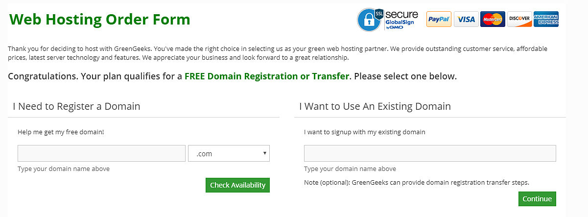 GreenGeeks Domain Registration