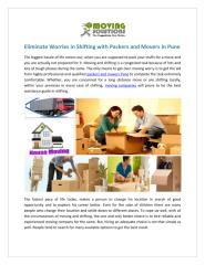 Eliminate Worries in Shifting with Packers and Movers Pune.pdf